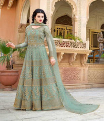 Aqua Blue Net Party Wear Anarkali With Aqua Blue Dupatta
