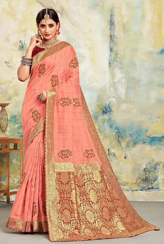 Pink Poly Silk Party Wear Saree With Maroon Blouse