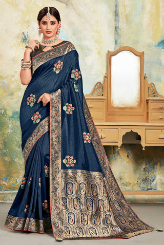 Navy Blue Poly Silk Party Wear Saree With Blue Blouse