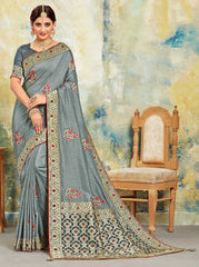 Grey Poly Silk Party Wear Saree With Grey Blouse