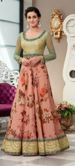 Peach Silk Partywear Lehenga With Green Choli And Peach Dupatta