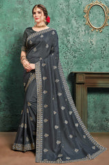 Black Poly Silk Party Wear Saree With Black Blouse