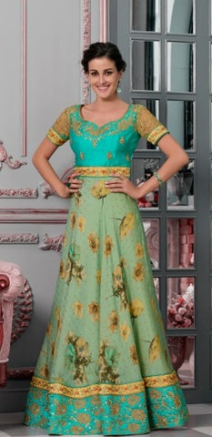 Gree Silk Partywear Lehenga With Green Choli And Yellow Dupatta