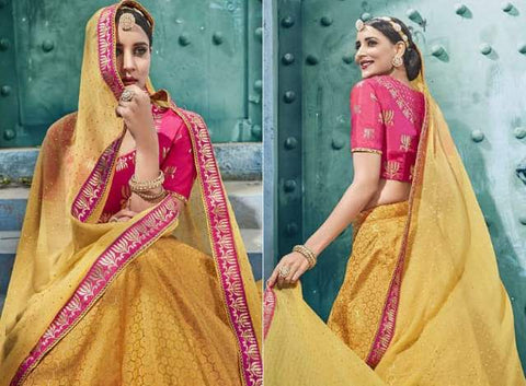 Yellow Silk Party Wear  Lehenga With Yellow Dupatta