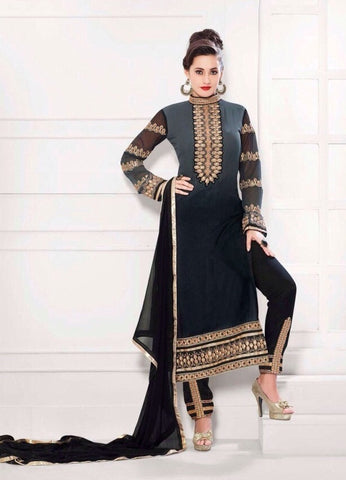 Black designer salwar suits with heavy embroidered work on sleeves and bottom