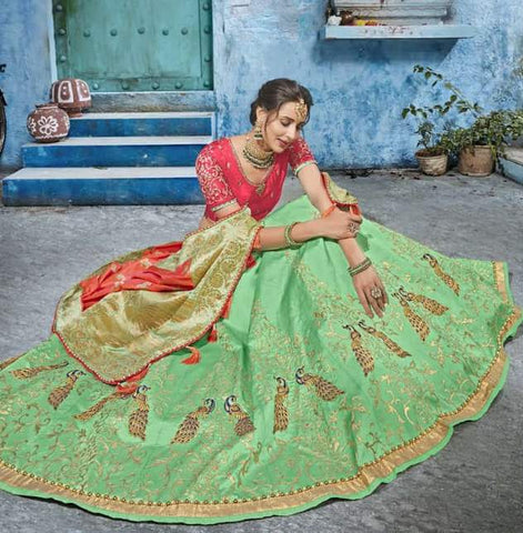 Green Silk Party Wear  Lehenga With Orange Dupatta