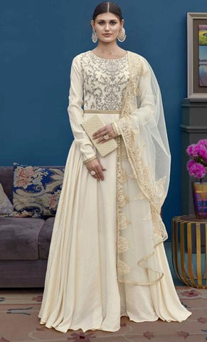 White Net Party Wear Anarkali Suit With White Dupatta