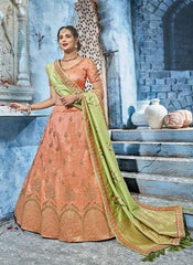 Orange Silk Party Wear  Lehenga With Green Dupatta