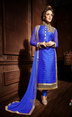 Designer blue knee length salwar jameez