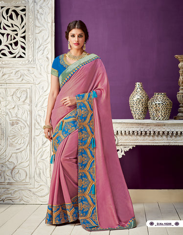 Onion Pink Georgette Party Wear  Saree With Blouse
