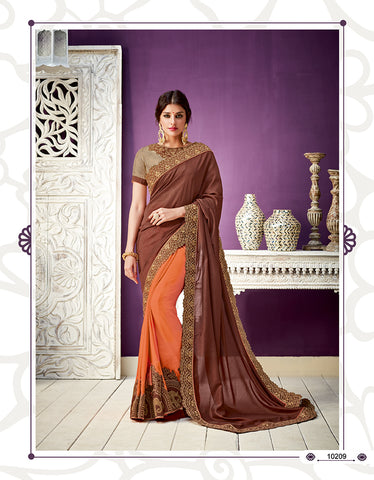Brown Orange Georgette Party Wear  Saree With Blouse