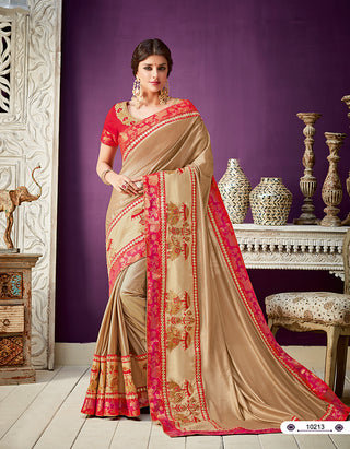 Gold Lycra Party Wear  Saree With Blouse