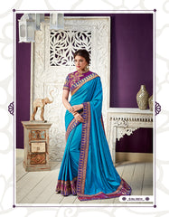 Blue Silk Party Wear  Saree With Blouse