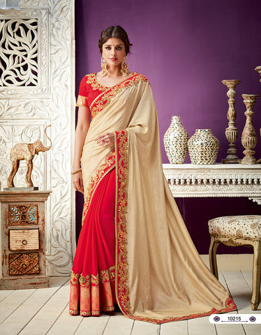 Beige Red Silk Party Wear  Saree With Blouse