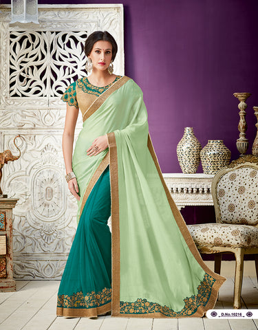 Lime Green Dark Green Georgette Party Wear  Saree With Blouse