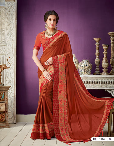 Rust Orange Georgette Banarsi Saree With Blouse