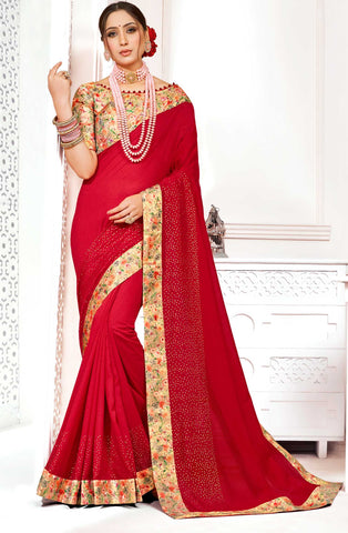 Red Poly Silk Party Wear Saree With Multicolor Blouse