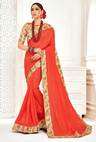 Orange Poly Silk Party Wear Saree With Multicolor Blouse