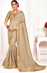 Beige Poly Silk Party Wear Saree With Multicolor Blouse