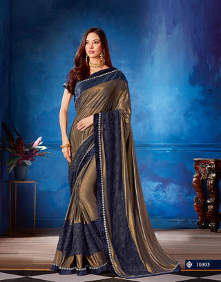 Golden Lycra Party Wear Fusion Style Saree With Blouse