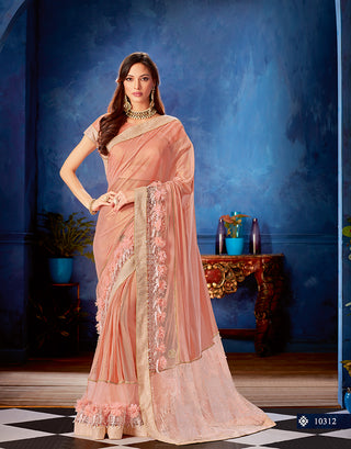 Pink Lycra Net Party Wear Saree With Blouse