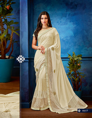 Off-White Lycra Net Party Wear Saree With Blouse