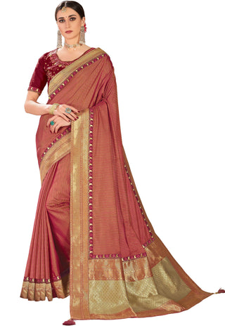 Red Poly Silk Party Wear Saree With Maroon Blouse