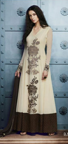 Off White Floral Embroidery Suit With Dupatta