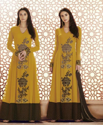 Mustard Yellow Floral Embroidery Suit With Dupatta