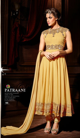Beige georgette long anarkali suit