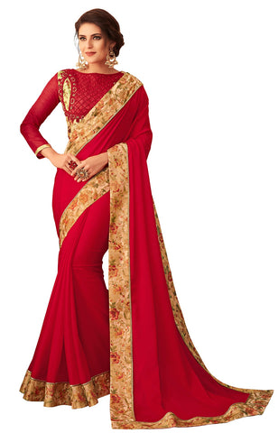 Red Georgette Casual Wear Saree With Blouse