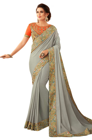 Grey Georgette Casual Wear Saree With Blouse