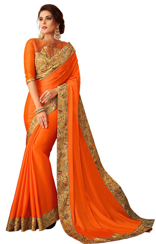 Orange Georgette Casual Wear Saree With Blouse
