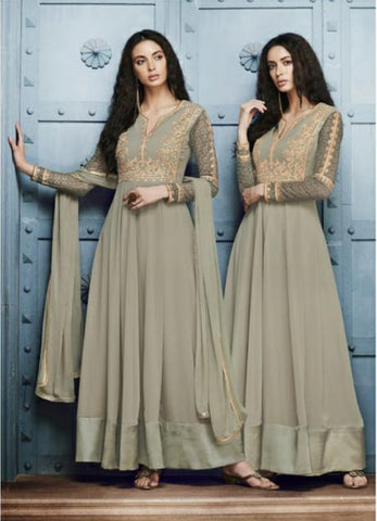 Grey Gown Style Anarkali With Dupatta