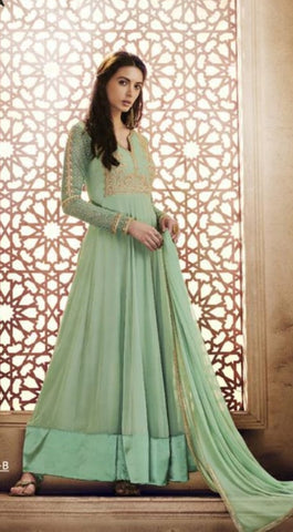 Sea Green Gown Style Anarkali With Dupatta