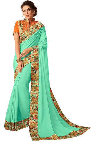 Turquoise Green Georgette Casual Wear Saree With Blouse