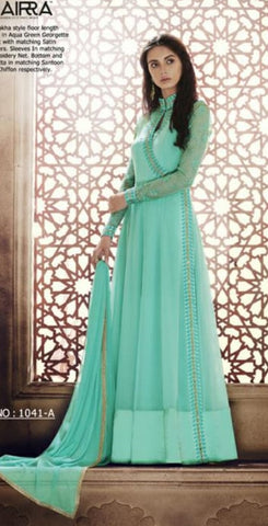 Aqua Green Gown Style Anarkali With Dupatta
