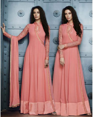 Pink Gown Style Anarkali Suits With Dupatta