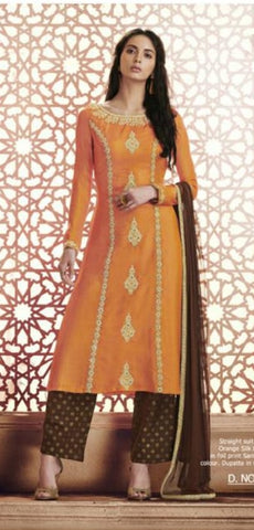 Straight Orange and Chocolate Suit With Dupatta