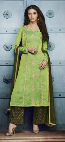 Green Straight Suit With Dupatta
