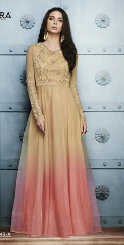Two Shade Beige And Peach Gown Style Anarkali With Dupatta