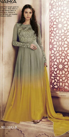 Two Shade Olive and Yellow Gown Style Anarkali With Dupatta