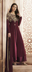 Purple/Wine Color Slit Type Suit With Dupatta