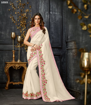 White Tissue Party Wear Saree With Pink Blouse