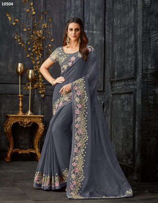 Grey Tissue Party Wear Saree With Grey Blouse