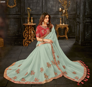 Sea Green Tissue Party Wear Saree With Red Blouse