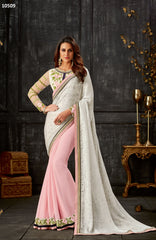Pink Georgette Party Wear Saree With  White Blouse