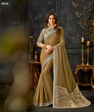 Brown-Blue Dual Tone Silk Party Wear Saree With Blue Blouse