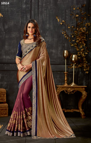 Pinkgold Lycra Party Wear Saree With Blue Blouse