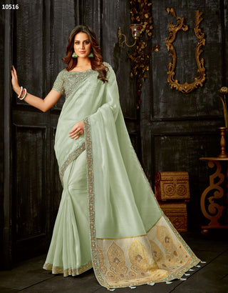 Sea Green Tissue Party Wear Saree With Sea Green Blouse